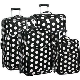 Overland Polka Dot 4 Piece Luggage Set in Black White