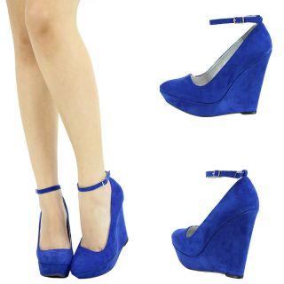 Cobalt Blue Ankle Strap Mary Jane 5 High Heel Platform Wedge Womens