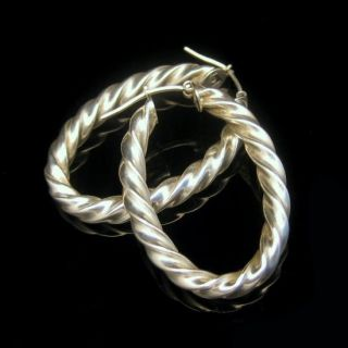 Italy 925 Vintage Sterling Silver Large Twisted Rope Hoop Earrings
