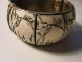 Vintage Estate Brass Faux Ivory Carved Elephant Bangle Bracelet   Made