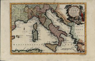 Italy 1768 Reynolds Beautiful Antique Map w Large Pictorial Cartouche