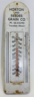 Horton Reeder Grain Co Metal Thermometer Farm Sign Ivesdale IL 1960s