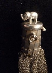 Childs Antique Victorian Sterling Silver Mesh Coin Purse Elephant Cap