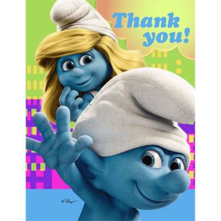 Smurfs Thank You Notes Birthday Party Supplies New