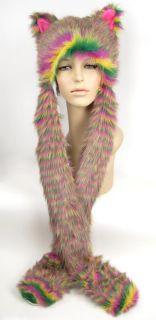 Faux Fur Hood Cat Animal Pockets Striped Teen Gift Pink Long Arms Hat