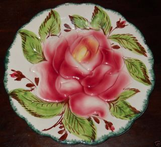 Italian Ceramic Majolica Art Pottery Rose Floral Flower Plate