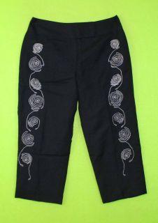 Larry Levine Sz 10P Petite Black Capris Line Womens Dress Pants Slacks