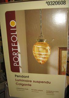 Portfolio Island Light Pendant w Portuguese Glass Shade Antique Brass