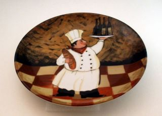 Chef Decorator Plate Wine Bread Italian French Free Shipping