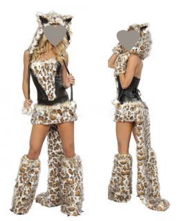 Womens Furry Cheetah Halloween Game Costume Cosplay Outfit