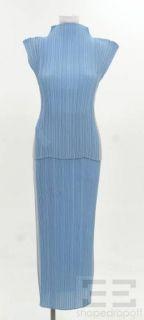 Issey Miyake Light Blue & Grey Pleated 2 Pc Sleeveless Top & Skirt Set