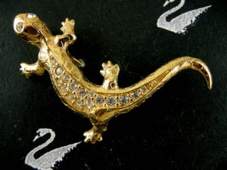 Signed Swarovski Crystal Lizzard Pin Brooch RARE