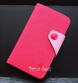 Pink Stylish Flip Synthetic Leather Wallet Case for Samsung Galaxy S2