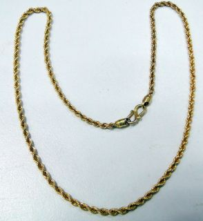 Estate Italian 18 K Solid VTJ EHS Gold Rope Chain Necklace Jewelry