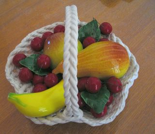 CAPODIMONTE BY BASSANO X LARGE HANDMADE ITALIAN CERAMIC FRUIT BASKET