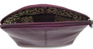 Ili Leather Cosmetic Pouch Eggplant Makeup Bag New