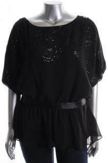 Jr Nites New Black Chiffon Over Sequins Slit Dolman Sleeves Blouse Top