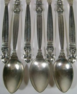 Georg Jensen Acorn Sterling Silver Flatware 8 Teaspoon Spoon Lot 2