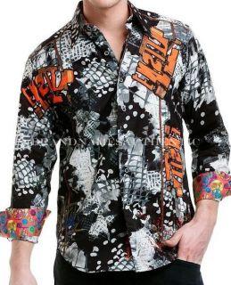 ROBERT GRAHAM Men J MICHAEL Cityscapes Graffiti Digital Print Shirt XL