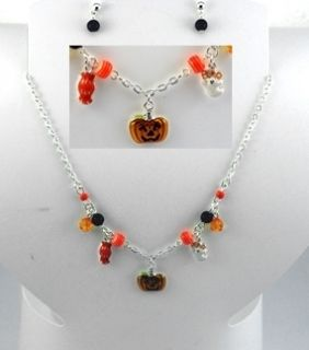 Halloween Necklace Earrings Set Jack O Lantern Ghost Candy Holiday