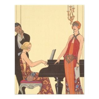 Vintage Music, Art Deco Pianist Musician Singer Custom Invitations