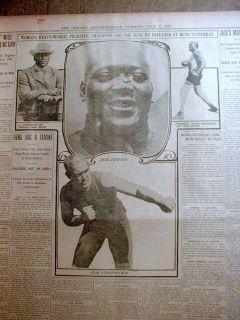 Best 1910 Display Newspaper Jack Johnson vs James Jeffries Boxing