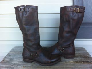 Frye Boot Veronica Slouch Dark Brown Women Leather Riding boot SZ 8 5