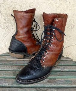 Vtg J.Chisholm Two Tone Packer Western Cowboy Lace Up Roper Boots Size