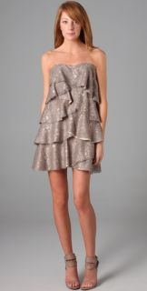 Haute Hippie Strapless Lace Tiered Dress