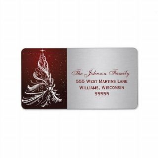 Silver and Red Christmas Tree Modern Return Address Label