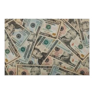 Great money background with various dollar bills. Paper money makes a