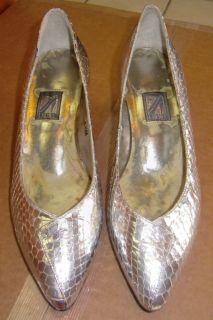 Vintage J. RENEE Leather SILVER SNAKESKIN Pumps Heels Shoes Sz 6.5 M