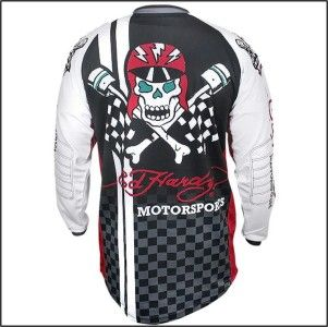 New Ed Hardy Motorsports Racing Motorcycle Jersey Skull Checkered Race