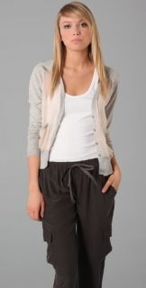 HHH by Haute Hippie Silky Cotton Cardigan with Chiffon Panels