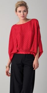 Haute Hippie Reversible Polka Dot Tie Blouse