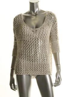 Famous Catalog Moda Beige Metallic Tape Crochet V Neck Top Cover Up s