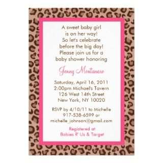 Wild Animal Print Baby Shower Invitation Card