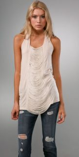 Haute Hippie Draped Fringe Halter Top