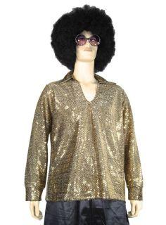 70s Disco Dance Fever Pimp Gold Sequin Shirt Mens Medium Large