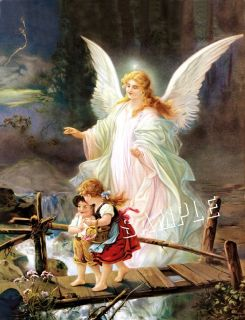 Victorian Guardian Angel Children Bridge Canvas Art
