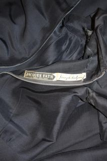 Vintage 50s Jacques Fath dress navy blue silk day dress RARE HTF