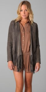 Haute Hippie Fringe Drape Suede Jacket