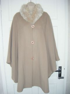 Jacques Vert Faux Fur Wool Cashmere Cape Coat One Size BNWOT