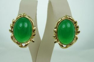 Vintage Chinese Large Cabochon Green Jade 14k Gold Earrings