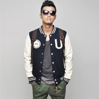 New Mens Baseball Jacket Vintage Leather Sleeve Jacket