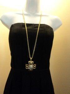 Vintage Iconic Jackie Collins Maltese Cross Black Gold Rhinestone