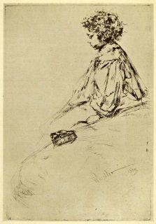 1911 Print James Abbott McNeill Whistler Etching Art Bibi Lalouette