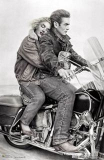 Marilyn Monroe James Dean Riding on A Harley Davidson Large New Poster