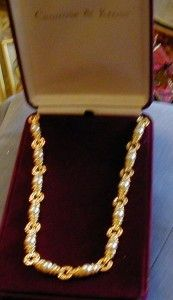 Jackie Kennedy Gold Tone Faux Pearl and Clear Crystal Necklace