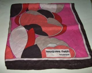 VTG JACQUES FATH Signed French Silk Scarf Abstract Print 30 x30 France